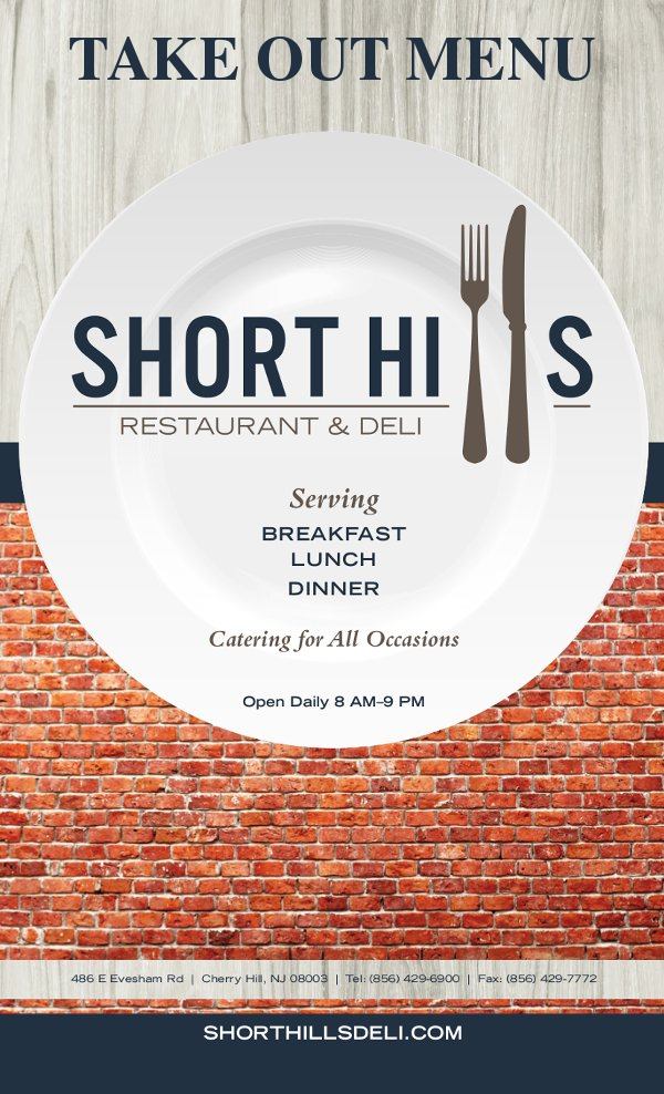 short hills restaurant deli take out menu